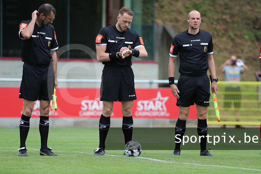 Assistant referee Patrick Vandenberghe, referee Tom Stevens and assistant referee Maxime Borremans pictured before a preseason friendly soccer game between Tempo Overijse and Royale Union Saint-Gilloise, Saturday 29th of June 2021 in Overijse, Belgium. Photo: SPORTPIX.BE   SEVIL OKTEM