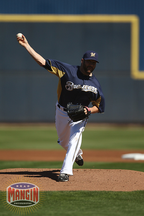 MARYVALE, AZ - FEBRUARY 28:  Shaun Marcum of the Milwaukee Brewers pitches during the spring training game between the San Francisco Giants and the Milwaukee Brewers on February 28, 2011 at Maryvale Ballpark in Maryvale, Arizona. Photo by Brad Mangin