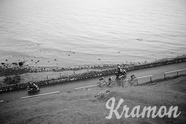 breakaway group next to the Irish Sea: Sander Armee (BEL/Lotto-Belisol), Maarten Tjallingii (NLD/Belkin), Jeffry Johan Romero (COL/Colombia) & Andrea Fedi (ITA/Neri Sottoli) <br /> <br /> Giro d'Italia 2014<br /> stage 2: Belfast-Belfast <br /> 219km