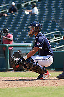 Catcher Rene Lastres (23) during the Baseball Factory All-Star Classic at Dr. Pepper Ballpark on October 4, 2020 in Frisco, Texas.  Rene Lastres (23), a resident of Miami, Florida, attends Calvary Christian Academy.  (Mike Augustin/Four Seam Images)