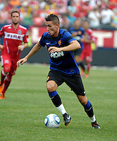 Manchester United forward Federico Macheda (27) dribbles toward the Chicago goal  Manchester United defeated the Chicago Fire 3-1 at Soldier Field in Chicago, IL on July 23, 2011.