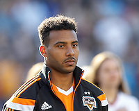 Houston Dynamo forward Giles Barnes (23). In a Major League Soccer (MLS) match, the New England Revolution (blue/white) defeated Houston Dynamo (orange), 2-0, at Gillette Stadium on April 12, 2014.