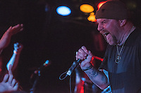 Singer Brock Lindow works an adoring crowd of headbangers as Anchorage's homegrown metal gods 36 Crazyfists perform during a pre-halloween show at Chilkoot Charlie's.