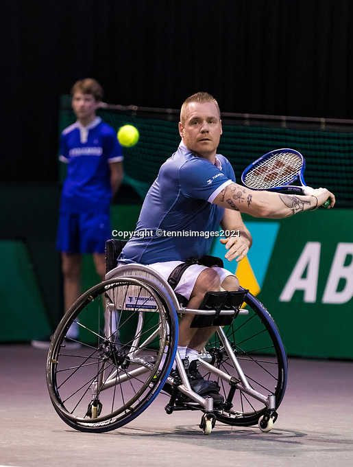 Rotterdam, The Netherlands, 4 march  2021, ABNAMRO World Tennis Tournament, Ahoy, First round wheelchair: Maikel Scheffers (NED).<br /> Photo: www.tennisimages.com/
