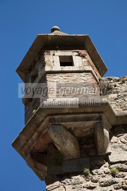 Europe/France/Languedoc-Roussillon/66/Pyrénées-Orientales/Conflent/Villefranche-de-Conflent: La Ville fortifiée et les remparts Vauban - détail échauguette
