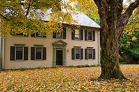 A colonial style house surrounded by autumn leaves in Deerfield, Massachusetts, New England, United States of America, North America