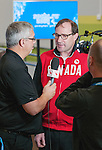 Sochi, RUSSIA - Mar 5 2014 -  Canada's Chef de Mission speaks to media after Canada's flag bearer announcement prior to the Sochi 2014 Paralympic Winter Games in Sochi, Russia.  (Photo: Matthew Murnaghan/Canadian Paralympic Committee)