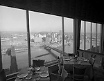 Pittsburgh PA:  View of Pittsburgh skyline from the LeMont Restaurant on Mount Washington.