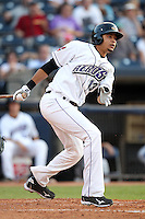Akron Aeros Juan Diaz #13 during a game against the Trenton Thunder at Canal Park on July 26, 2011 in Akron, Ohio.  Trenton defeated Akron 4-3.  (Mike Janes/Four Seam Images)