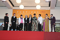 RAYMON COALSON, VERONICA EZEL, ISAIAH STONE, ANDREA ARNOLD, SASHA LANE, SHIA LABEOUF, RILEY KEOUGH, MCCAUL LOMBARDI - CANNES 2016 - DESCENTE DU FILM 'AMERICAN HONEY'