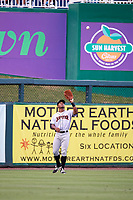 Jupiter Hammerheads left fielder Stone Garrett (26) settles under a fly ball during a game against the Fort Myers Miracle on April 9, 2017 at CenturyLink Sports Complex in Fort Myers, Florida.  Jupiter defeated Fort Myers 3-2.  (Mike Janes/Four Seam Images)