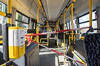 Aufgrund einer Anordnung der Berliner Verkehrsbetriebe bleiben bei den Linienbussen die vordere Eingangstueren geschlossen und Fahrgaeste mussen hinten einsteigen. Die Fahrer duerfen auch keine Fahrscheine mehr verkaufen.<br /> Im Bild: Als zusaetzlicher Schutz fuer die Fahrer sind die vorderen Sitze fuer Fahrgaeste gesperrt.<br /> 14.3.2020, Berlin<br /> Copyright: Christian-Ditsch.de<br /> [NUR FUER REDAKTIONELLE ZWECKE! Werbung nur auf Anfrage beim Fotografen. Inhaltsveraendernde Manipulation des Fotos nur nach ausdruecklicher Genehmigung des Fotografen. Vereinbarungen ueber Abtretung von Persoenlichkeitsrechten/Model Release der abgebildeten Person/Personen liegen nicht vor. NO MODEL RELEASE! Don't publish without copyright Christian-Ditsch.de, Veroeffentlichung nur mit Fotografennennung, sowie gegen Honorar, MwSt. und Beleg. Konto: I N G - D i B a, IBAN DE58500105175400192269, BIC INGDDEFFXXX, Kontakt: post@christian-ditsch.de<br /> Bei der Bearbeitung der Dateiinformationen darf die Urheberkennzeichnung in den EXIF- und  IPTC-Daten nicht entfernt werden, diese sind in digitalen Medien nach §95c UrhG rechtlich geschuetzt. Der Urhebervermerk wird gemaess §13 UrhG verlangt.]