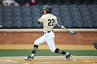 Michael Ludowig (22) of the Wake Forest Demon Deacons follows through on his swing against the Miami Hurricanes at David F. Couch Ballpark on May 11, 2019 in  Winston-Salem, North Carolina. The Hurricanes defeated the Demon Deacons 8-4. (Brian Westerholt/Four Seam Images)
