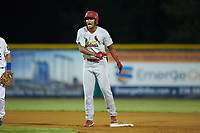 Jhon Torres (22) of the Johnson City Cardinals celebrates after hitting a double during the game against the Burlington Royals at Burlington Athletic Stadium on September 4, 2019 in Burlington, North Carolina. The Cardinals defeated the Royals 8-6 to win the 2019 Appalachian League Championship. (Brian Westerholt/Four Seam Images)