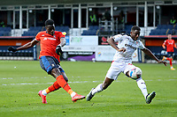 4th May 2021; Kenilworth Road, Luton, Bedfordshire, England; English Football League Championship Football, Luton Town versus Rotherham United; Elijah Adebayo of Luton Town shoots and hits the post with his shot