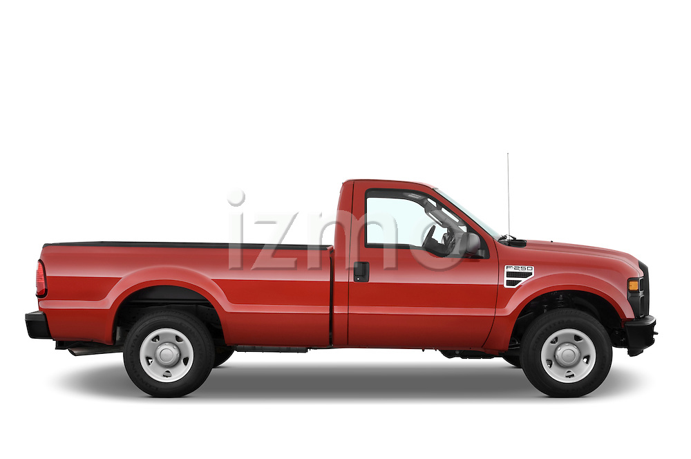 Passenger side profile view of a 2008 Ford f250 Regular Cab.
