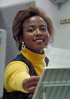 portrait of Black woman office worker. Black woman, African-American.