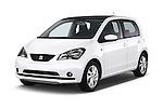2014 Seat MII Style 5 Door Hatchback 2WD Angular Front stock photos of front three quarter view