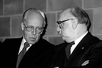 January 9, 1984 File Photo -  Lawrence Hannigan, President  CTCUM (Montreal Transit commision) (L) and Jean Drapeau, Montreal Mayor (R)<br />  attend the inauguration of the 3 new metro (subway) station : <br /> Namur, De La Savane and Du College.