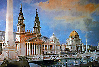 The Palace of Mechanic Arts and the lagoon in front at the 1893 World Columbian Exposition