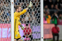 LOS ANGELES, CA - OCTOBER 29: Stefan Frei #24 goalkeeper of the Seattle Sounders FC barks out directives to his teammates during a game between Seattle Sounders FC and Los Angeles FC at Banc of California Stadium on October 29, 2019 in Los Angeles, California.