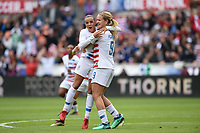 Houston, TX - Sunday April 8, 2018: Lindsey Horan scores a goal and celebrates with Mallory Pugh during an International friendly match versus the women's National teams of the United States (USA) and Mexico (MEX) at BBVA Compass Stadium.