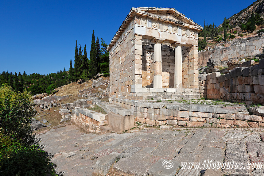 Treasury of the Athenians (5th cent. B.C.) in Delphi, Greece