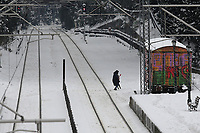 Pictured: Snow covered tracks at the Aghios Stefanos railway station in the outskirts of Athens. Greece. <br /> Re: Heavy snow has affected most areas of Greece.