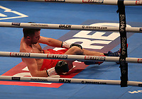 9th October 2021; M&S Bank Arena, Liverpool, England; Matchroom Boxing, Liam Smith versus Anthony Fowler; ANTHONY FOWLER (Liverpool, England) hits the canvas and suffers a technical knockout in the 8th round against  LIAM SMITH (Liverpool, England) hits the canvas as Smith wins the WBA International Super-Welterweight Title