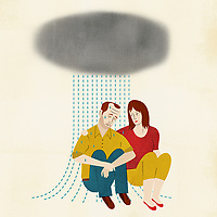 Woman trying to comfort crying man ExclusiveImage
