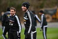 Thursday 20 March 2014<br /> Pictured:Michu<br /> Re: Swansea City Training at their Fairwood training facility, Swansea, Wales,UK