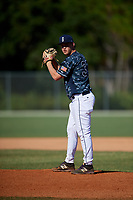Dylan Simmons during the WWBA World Championship at the Roger Dean Complex on October 20, 2018 in Jupiter, Florida.  Dylan Simmons is a right handed pitcher from Jacksonville, Florida who attends Trinity Christian Academy and is committed to Florida State.  (Mike Janes/Four Seam Images)