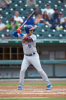Andy Burns (9) of the Buffalo Bisons at bat against the Caballeros de Charlotte at BB&T BallPark on July 23, 2019 in Charlotte, North Carolina. The Bisons defeated the Caballeros 8-1. (Brian Westerholt/Four Seam Images)