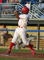 February 2, 2003:  Outfielder Michael Bourn of the Batavia Muckdogs, Class-A affiliate of the Philadelphia Phillies, during a NY-Penn League game at Dwyer Stadium in Batavia, NY.  Photo by:  Mike Janes/Four Seam Images