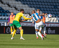 12th September 2020 The John Smiths Stadium, Huddersfield, Yorkshire, England; English Championship Football, Huddersfield Town versus Norwich City;  Ben Godfrey of Norwich City grabs  Juninho Bacuna of Huddersfield Town