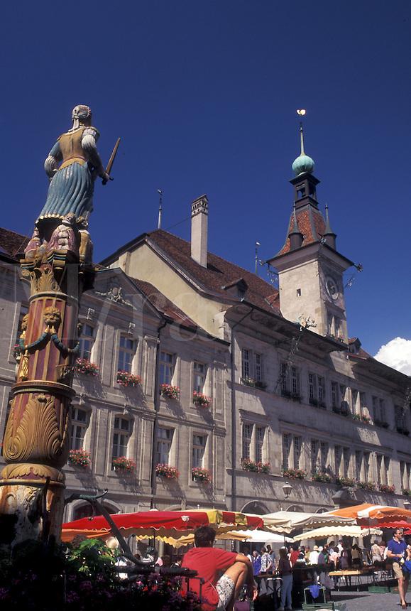street market, Switzerland, Lausanne, Vaud, Market day in Place de la Palud in the city of Lausanne.