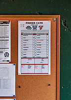31 May 2018: Easter League MiLB Lineup Card is posted in the dugout prior to a game between the New Hampshire Fisher Cats and the Portland Sea Dogs at Northeast Delta Dental Stadium in Manchester, NH. The Sea Dogs defeated the Fisher Cats 12-9 in extra innings. Mandatory Credit: Ed Wolfstein Photo *** RAW (NEF) Image File Available ***