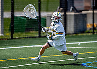 1 May 2021: University of Vermont Catamount Goalkeeper Ryan Cornell, a Senior from Darien, CT, in action against the Stony Brook University Seawolves at Virtue Field in Burlington, Vermont. The Cats edged out the Seawolves 14-13 with less than one second to play in their America East Men's Lacrosse matchup. Mandatory Credit: Ed Wolfstein Photo *** RAW (NEF) Image File Available ***