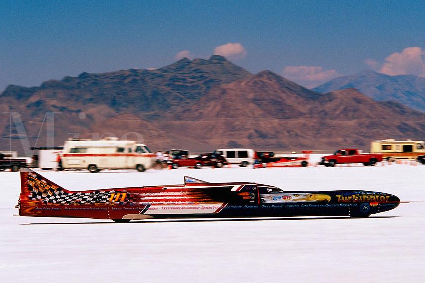 "Speed Week Bonneville Salt Flats Turbin powered Vesco Racing ""The Turbinator"" Record 458.44 mph"
