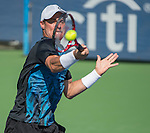 Lleyton Hewitt (AUS) loses to Feliciano Lopez (ESP) 4-6, 7-5, 6-3 at the Citi Open in Washington, DC,  on August 5, 2015.