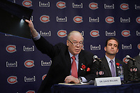 Montreal  (Quebec) CANADA - Nov 2011 File Photo -<br /> <br /> Dr David Mulder (L) and Geoff Molson (R) at the press conference where<br /> <br />  Hockey Player Max Pacioretty annonce he <br />  return to Hockey<br />  after a major injury.