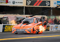 Sep 13, 2019; Mohnton, PA, USA; NHRA funny car driver Mike McIntire Jr during the Reading Nationals at Maple Grove Raceway. Mandatory Credit: Mark J. Rebilas-USA TODAY Sports