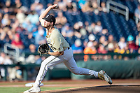 Vanderbilt Commodores pitcher Mason Hickman (44) delivers a pitch to the plate against the Michigan Wolverines during Game 3 of the NCAA College World Series Finals on June 26, 2019 at TD Ameritrade Park in Omaha, Nebraska. Vanderbilt defeated Michigan 8-2 to win the National Championship. (Andrew Woolley/Four Seam Images)