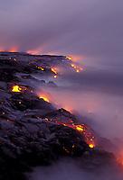 Lava flow at the coastline at Kamoamoa , Big Island of Hawaii