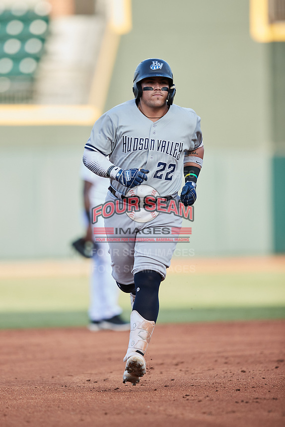 Andres Chaparro (22) of the Hudson Valley Renegades rounds the bases after hitting a home run against the Winston-Salem Dash at Truist Stadium on August 28, 2021 in Winston-Salem, North Carolina. (Brian Westerholt/Four Seam Images)