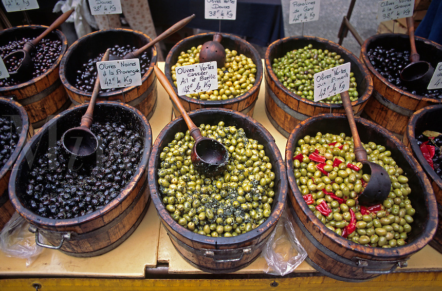 Local OLIVES for sale on Market Day in the golden-stone village of GORDES  - PROVENCE, FRANCE