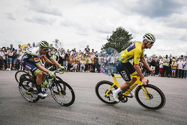 Race leader Yellow Jersey Mathieu Van Der Poel (NED) Alpecin-Fenix and Loic Vliegen (BEL) Intermarché-Wanty-Gobert Matériaux during Stage 7 of the 2021 Tour de France, running 249.1km from Vierzon to Le Creusot, France. 2nd July 2021.  <br /> Picture: A.S.O./Pauline Ballet | Cyclefile<br /> <br /> All photos usage must carry mandatory copyright credit (© Cyclefile | A.S.O./Pauline Ballet)