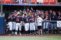 Timmy Richards (13) of the Cal State Fullerton Titans returns to the Titans dugout after hitting home run during a game against the Wichita State Shockers at Goodwin Field on March 13, 2016 in Fullerton, California. Cal State Fullerton defeated Wichita State, 7-1. (Larry Goren/Four Seam Images)