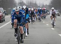 "Tim Declercq ""El tractor"" (BEL/Deceuninck - Quick Step)  leading the peloton<br /> <br /> 76th Omloop Het Nieuwsblad 2021<br /> ME(1.UWT)<br /> 1 day race from Ghent to Ninove (BEL): 200km<br /> <br /> ©kramon"