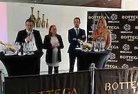 20140507 - LEUVEN , BELGIUM : Belgian KBVB Business Director Bob Madou (middle) pictured with Ingrid Vanherle (r) , Press officer Stefan Van Loock (l) and Bottega Valerie Bejaoui during the Press Conference organised by BeneLeague and KBVB to announce the partnership between BOTTEGA - Bim Bam Bulles ,  Belgian Red Flames and BeneLeague at Stadion Den Dreef , Leuven . Wednesday 7th May 2014 .  PHOTO DAVID CATRY